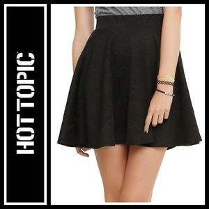 Hot Topic Sugar Skull Embossed Circle Skirt